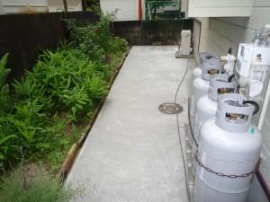 雑草の防除-裏庭に犬走り