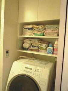 洗濯機上部の収納